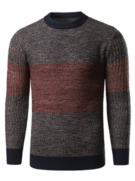 Ericdress Color Block Crew Neck Casual Men's Sweater