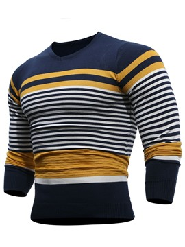 Ericdress V-Neck Color Block Stripe Pullover Men's Sweater