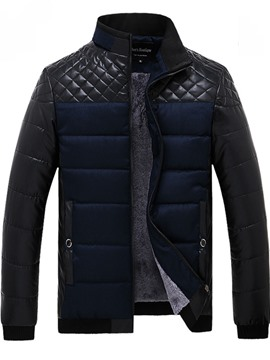 Ericdress Patchwork Stand Collar Warm Men's Coat