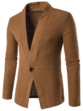 Ericdress Solid Color One Button Lapel Casual Men's Knitwear