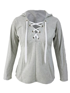Ericdress Casual Lace-Up Slim Hoodie