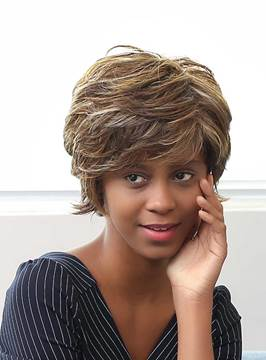 Ericdress Short Layered Messy Mixed Color Curly Human Hair Capless Wigs 10 Inches