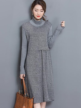 Ericdress Turtleneck Knitting Patchwork Pleated Maxi Dress