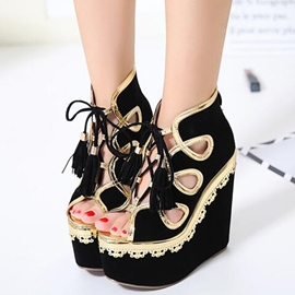 Ericdress Suede Platform Peep Toe Wedge Sandals