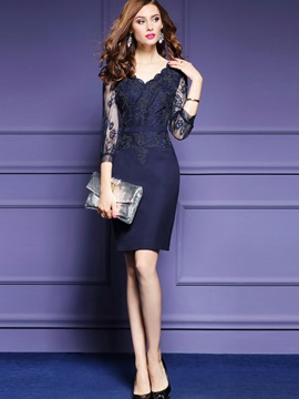 Ericdress Wave Cut Appliques Nine Points Sleeve Lace Dress