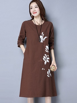 Ericdress Pastoral Hand Painted Print Pocket Loose Casual Dress