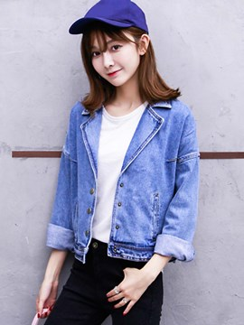Ericdress Single-Breasted Solid Color Casual Denim Outerwear