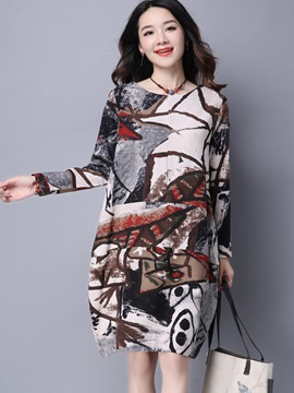 Ericdress Ink Print Round Collar Bud Casual Dress