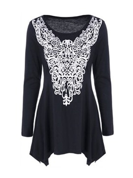 Ericdress Lace Panel Pleated Oversize T-Shirt