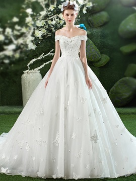 Ericdress Charming Off The Shoulder Appliques Ball Gown Wedding Dress