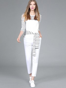 Ericdress Stripe Suspenders Lace-Up Patchwork Pants Suit