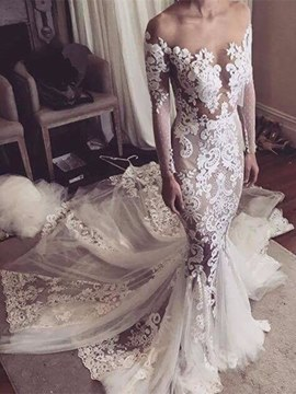 Ericdress Sexy Illusion Neckline Appliques Mermaid Long Sleeves Wedding Dress