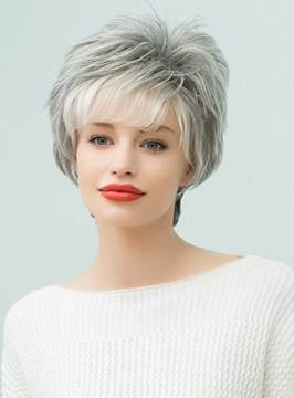 Ericdress Curly Short Gray Human Hair Capless Wigs 8 Inches