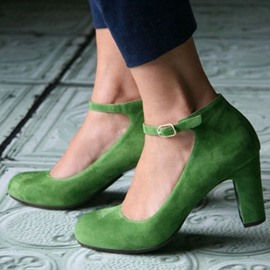 Ericdress Greenery Round Toe Ankle Wrap Chunky Heels