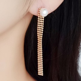 Ericdress Bead Flat Chain Pearl Asymmetric Earrings