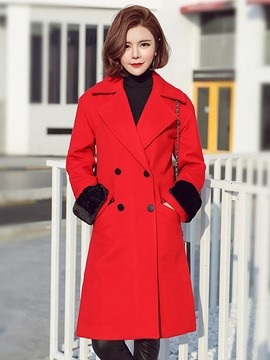 Ericdress Color Block Slim Double-Breasted Coat