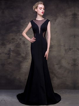 Ericdress Cap Sleeve Jewel Neck Mermaid Evening Dress With Court Train