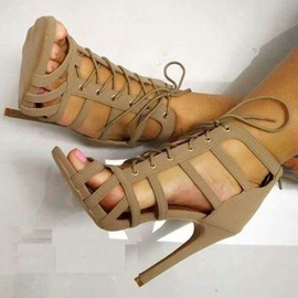 Nude Cage Lace Up Sandals