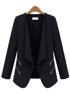 Ericdress Solid Color Zipper Loose Blazer