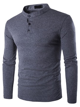 Ericdress Plain Stand Collar Long Sleeve Men's T-Shirt