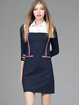 Ericdress Preppy Patchwork Strip Pocket Above Knee Casual Dress