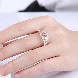 Ericdress Red Zircon Flower Silver Plated Ring