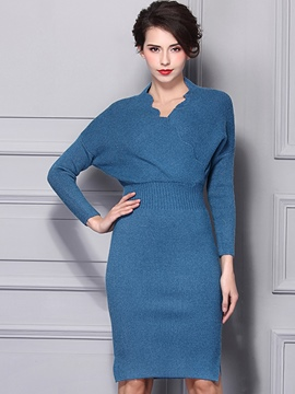 Ericdress Wave Cut V-Neck Batwing Sleeve High-Waist Sweater Dress