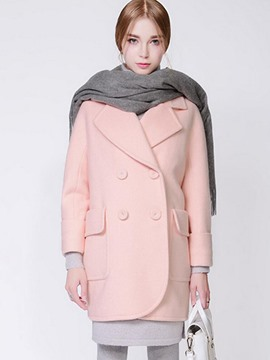 Ericdress Solid Color Double-Breasted Straight Thick Coat