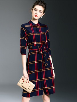 Ericdress OL Plaid Stand Collar Lace-Up Casual Dress