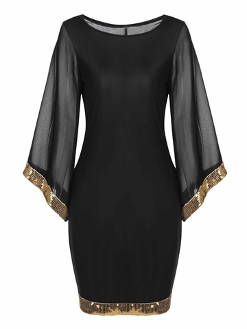 Ericdress Mesh Sequins Patchwork Bell Sleeve Bodycon Dress