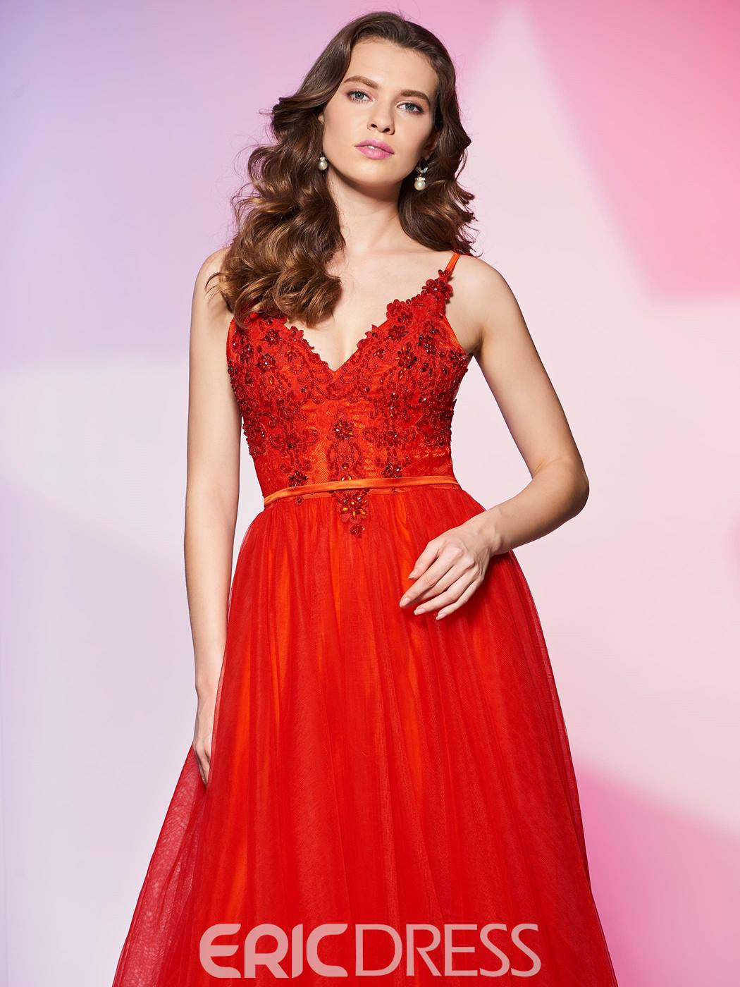 Ericdress A Line Spaghetti Straps Applique Beaded Prom Dress