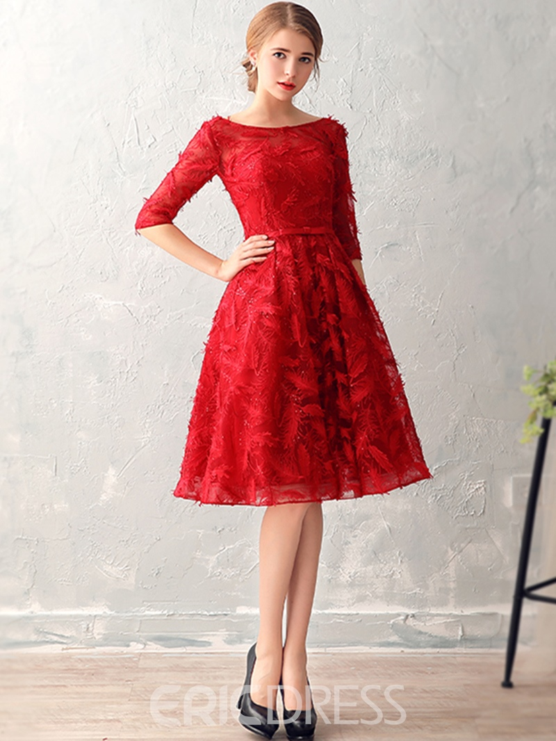 Ericdress A-Line Bateau Half Sleeves Bowknot Lace Sashes Knee-Length Cocktail Dress