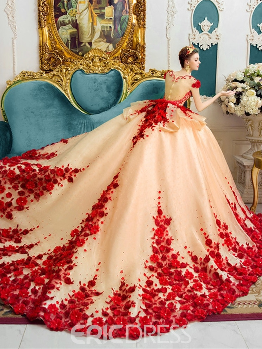 Ericdress amazing scoop ball gown color wedding dress for Wedding dresses in color
