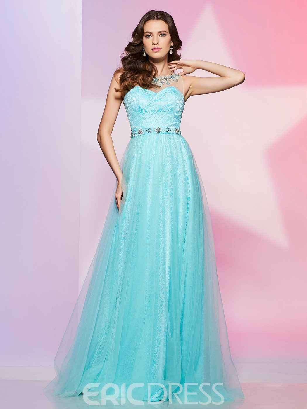 Ericdress A Line Jewel Neck Beaded Floor Length Long Lace Prom Dress