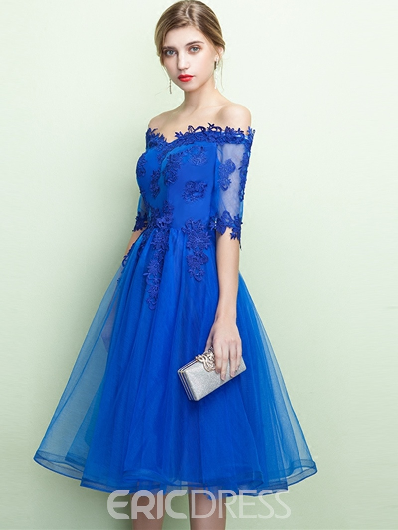 Ericdress A-Line Off-the-Shoulder Half Sleeves Knee-Length Prom Dress