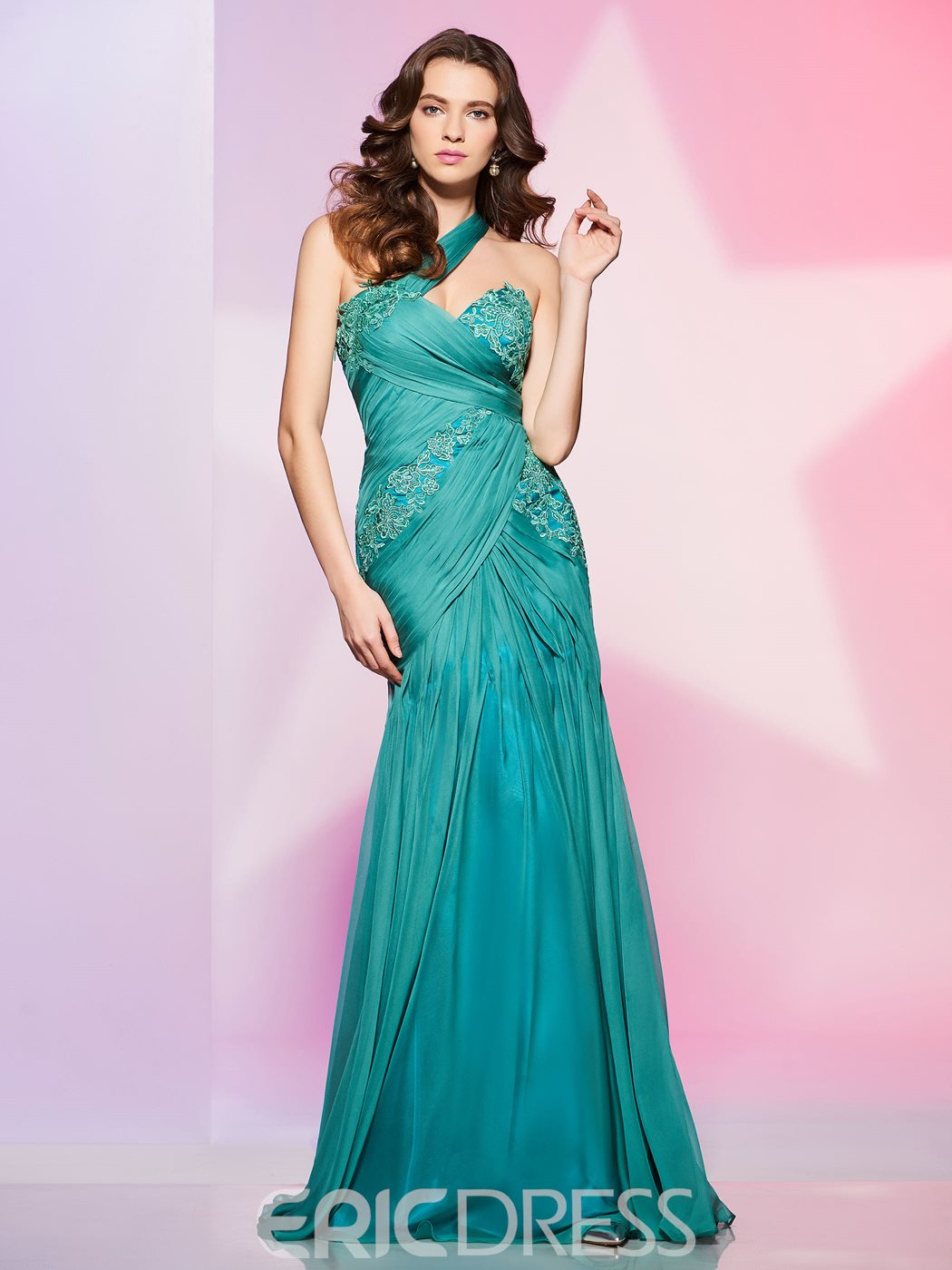 Ericdress Sheath One Shoulder Pleats Applique Floor Length Prom Dress