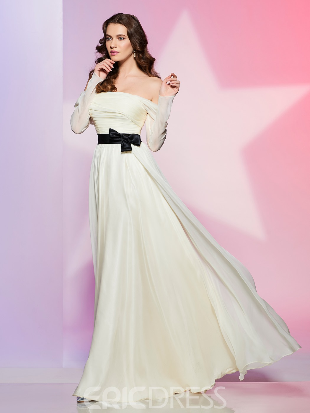 Ericdress Off The Shoulder Long Sleeve Bowknot Front Long Prom Dress