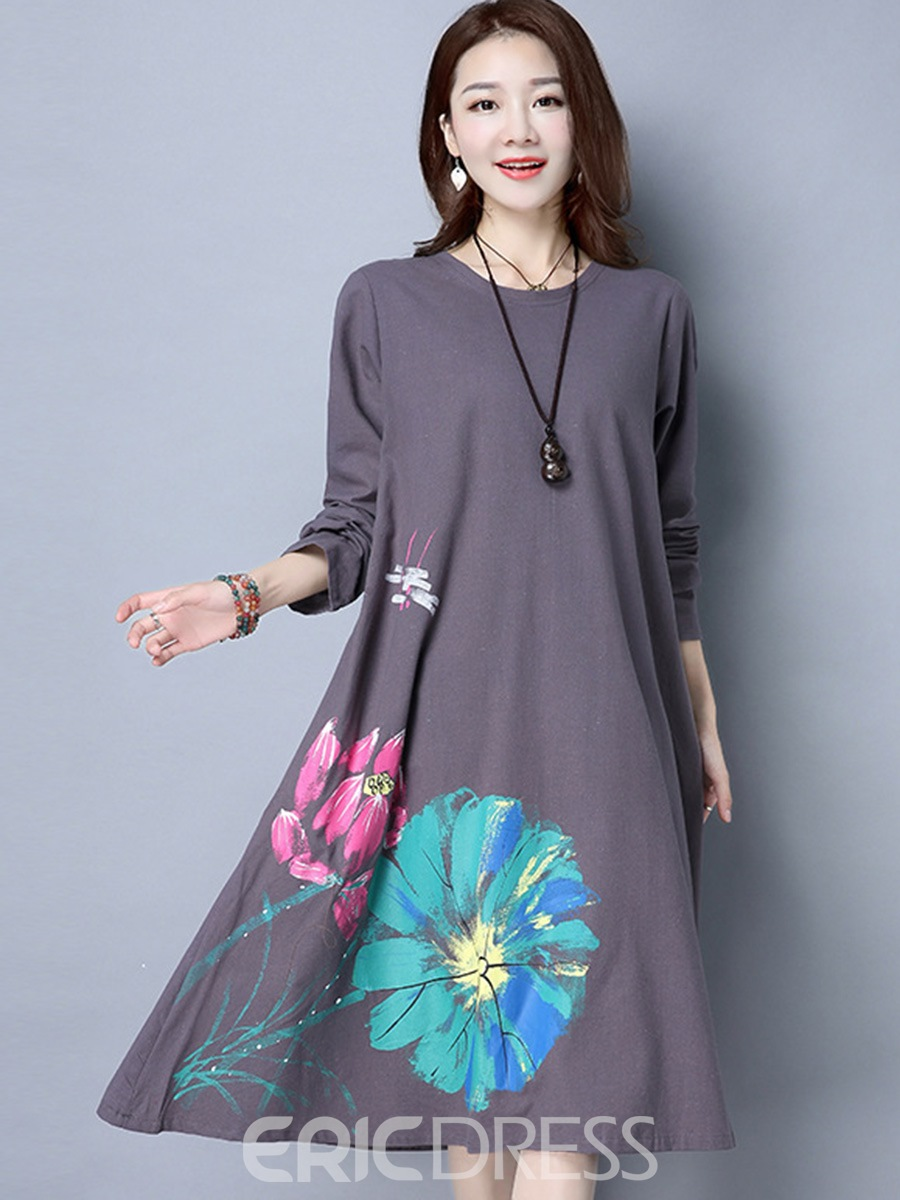 Ericdress Round Collar Hand Painted Print Loose Casual Dress