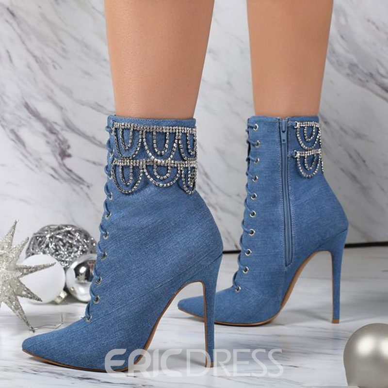Ericdress Denim Blue Beaded Fashion Booties