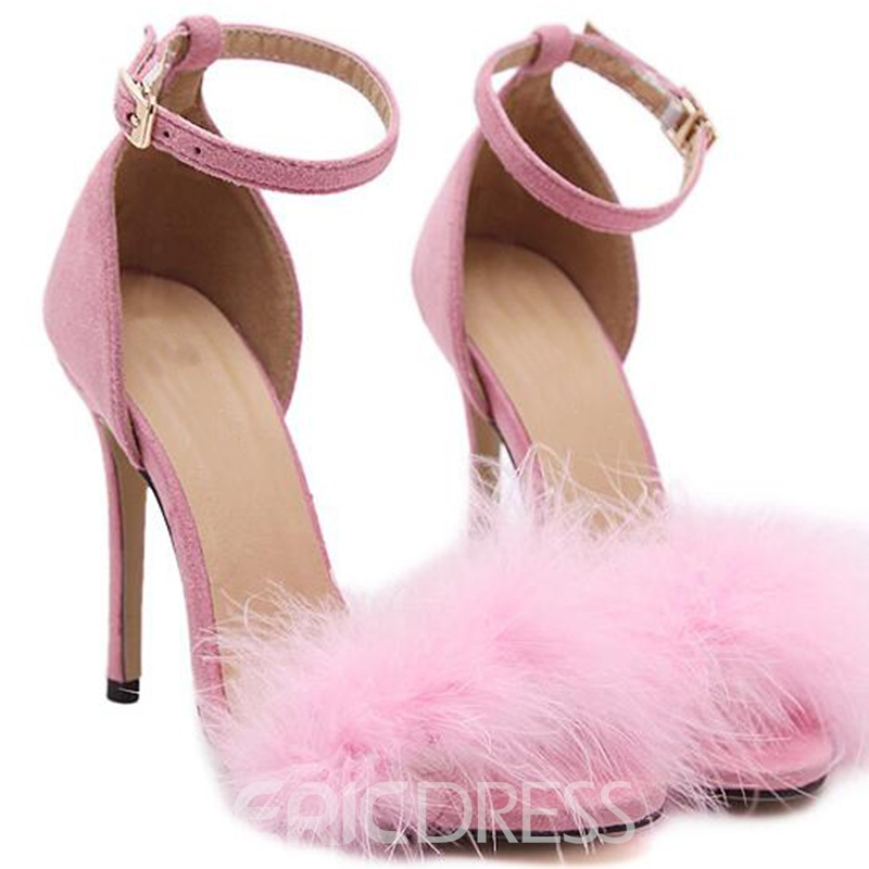 Ericdress Sexy Feather Ankle Strap Open Toe Stiletto Sandals