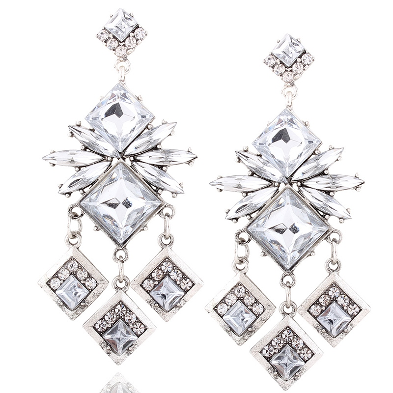Ericdress Geometry Diamante Long Alloy Earrings