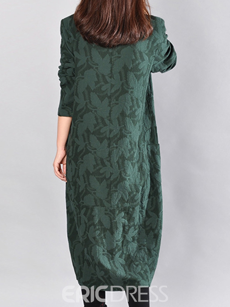Ericdress Print Round Collar Pocket Loose Maxi Dress