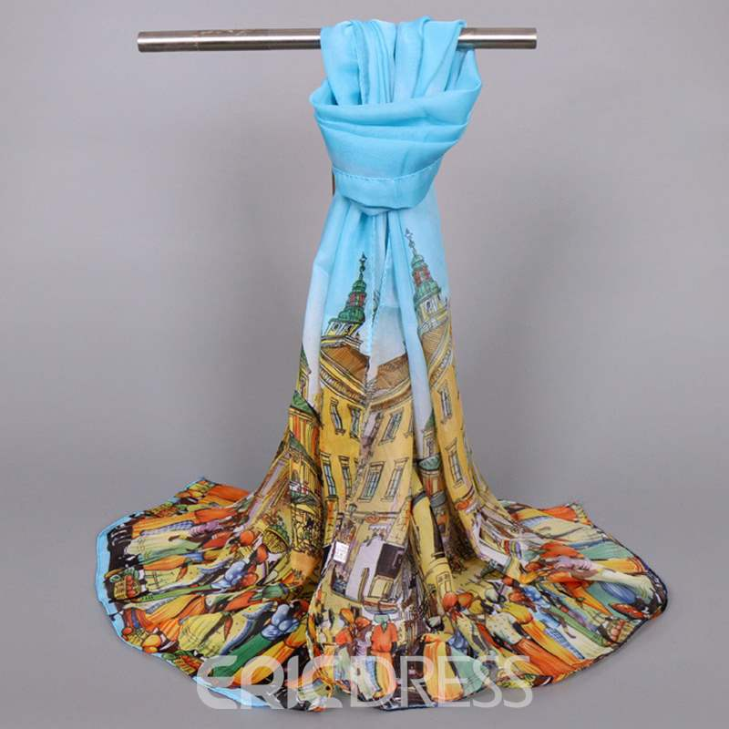 Ericdress Cartoon Printed Chiffon Thin Women's Scarf