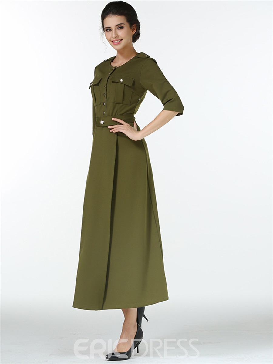 Ericdress Single-Breasted Pocket Split Round Collar Maxi Dress