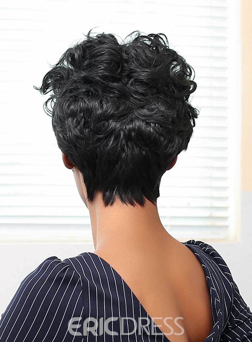 Ericdress Loose Short Curly Human Hair Capless Wigs 10 Inches