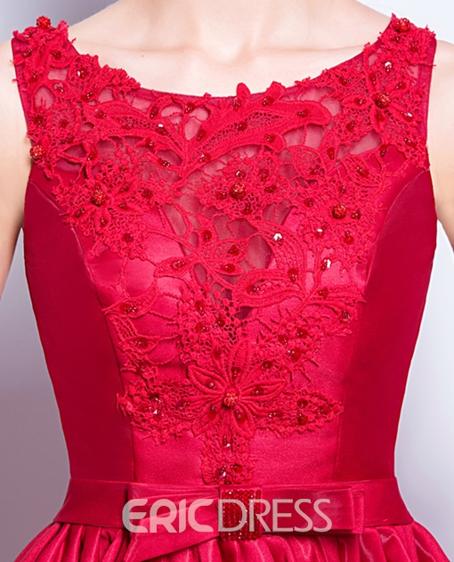 Ericdress Fancy A Line High Low Lace-Up Back Asymmetry Prom Dress