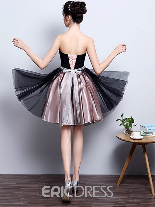 Ericdress A-Line Sweetheart Pleats Sashes Short Cocktail Dress