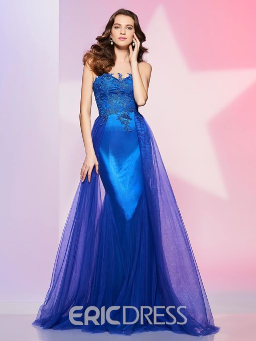 Ericdress Fancy Scoop Neck Applique Lace Long Prom Dress