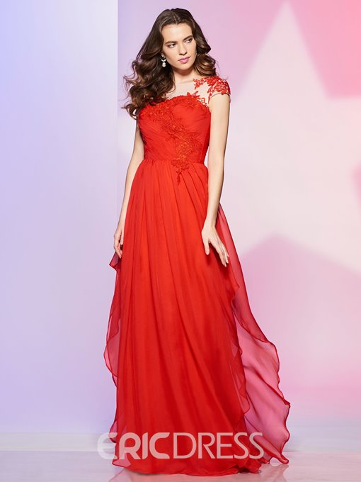 Ericdress A Line Applique Chiffon Long Prom Dress With Short Sleeve