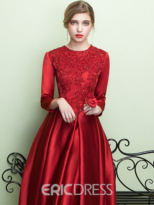 Ericdress A-Line 3/4 Sleeves Tea-Length Evening Dress With Appliques And Beading